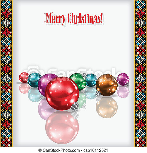 abstract celebration greeting with Christmas decorations - csp16112521