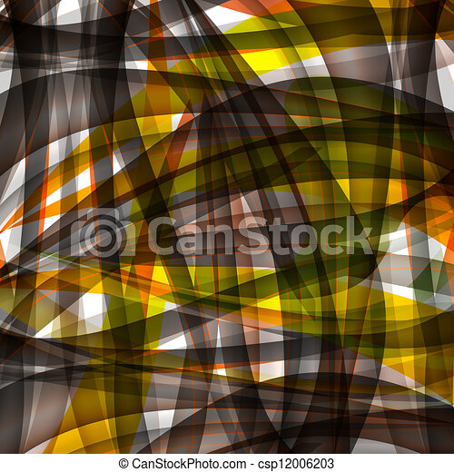 Abstract chaotic pattern with colorful translucent curved lines - csp12006203