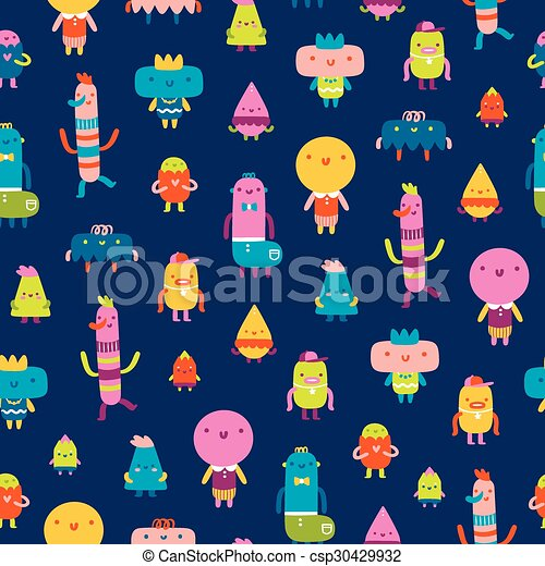 Abstract characters vector seamless pattern on blue background - csp30429932