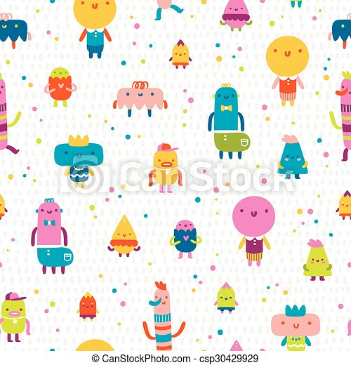 Abstract characters vector seamless pattern - csp30429929