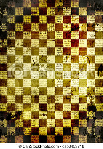 Abstract chess background for design with grunge papers - csp8453718