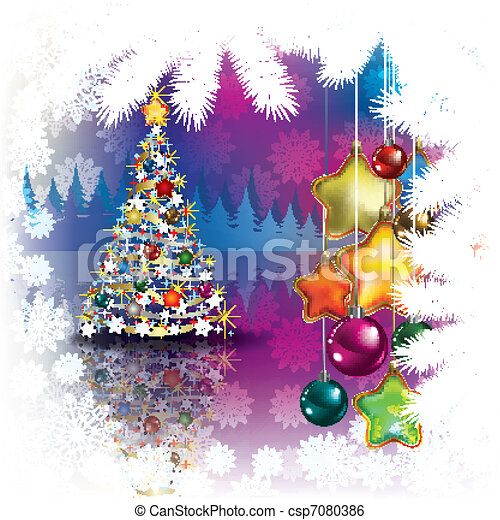 Abstract Christmas background with tree - csp7080386