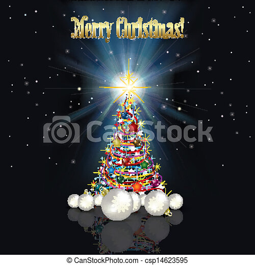 Abstract Christmas background with tree - csp14623595