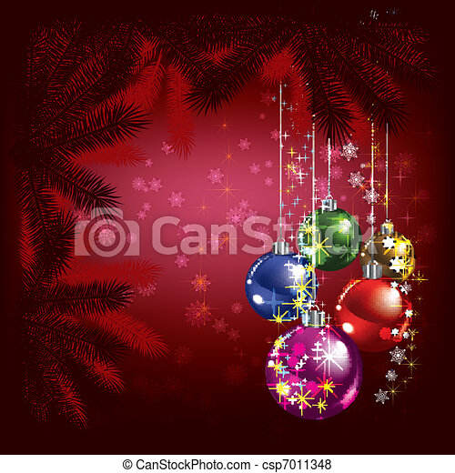 Abstract Christmas background with tree and decorations - csp7011348