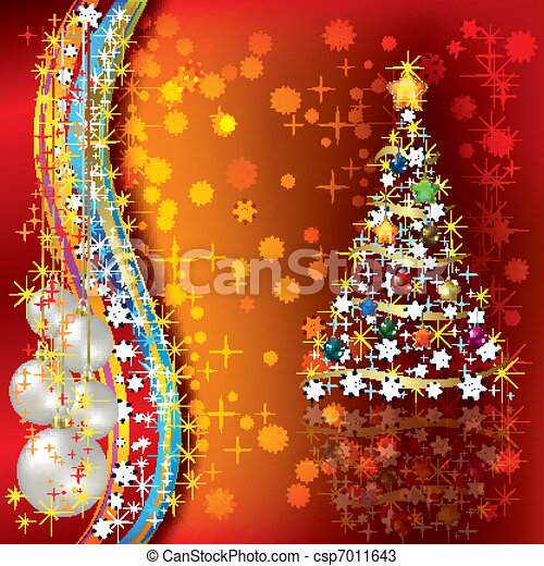 Abstract Christmas background with tree - csp7011643