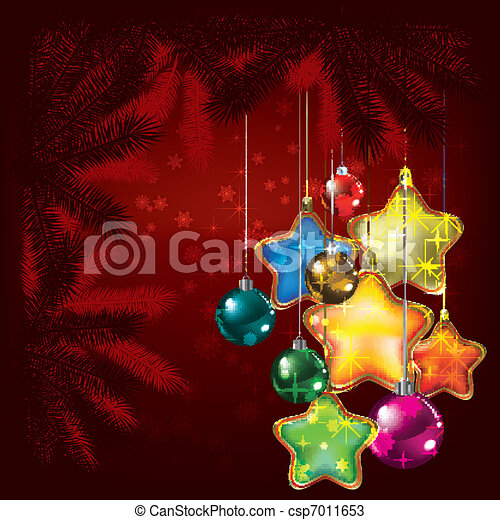 Abstract Christmas background with tree and decorations - csp7011653