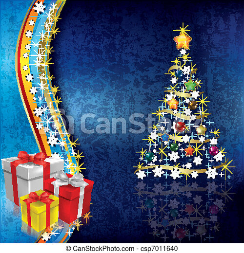 Abstract Christmas background with tree - csp7011640
