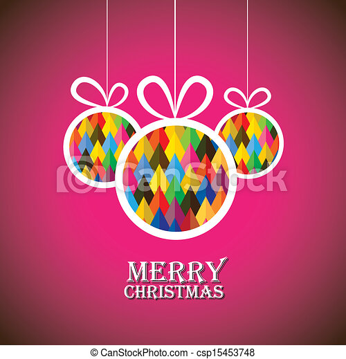 Abstract christmas bauble balls on pink background- vector graphic. This illustration shows three hanging balls decorated on xmas(feliz navidad) eve - csp15453748