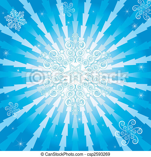 Abstract christmas blue background (vector) - csp2593269