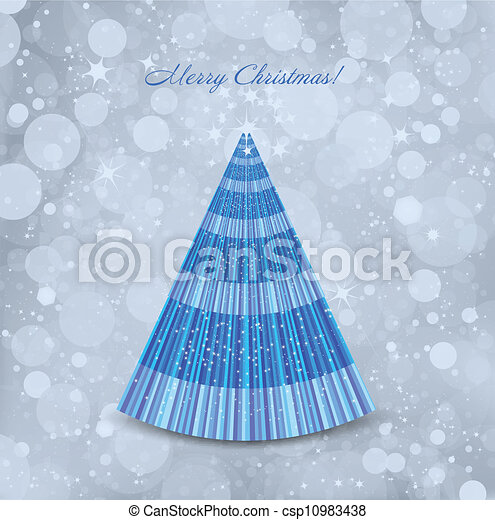 Abstract Christmas blue background with tree. Vector - csp10983438
