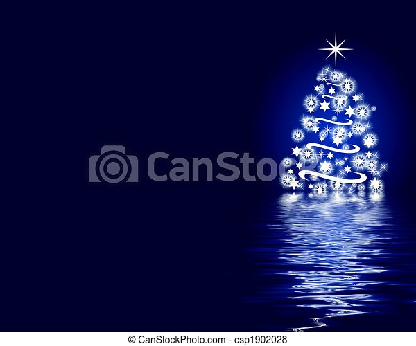 abstract christmas tree background blue - csp1902028