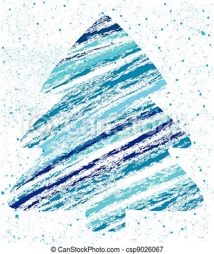 abstract christmas tree chalk drawing  - csp9026067