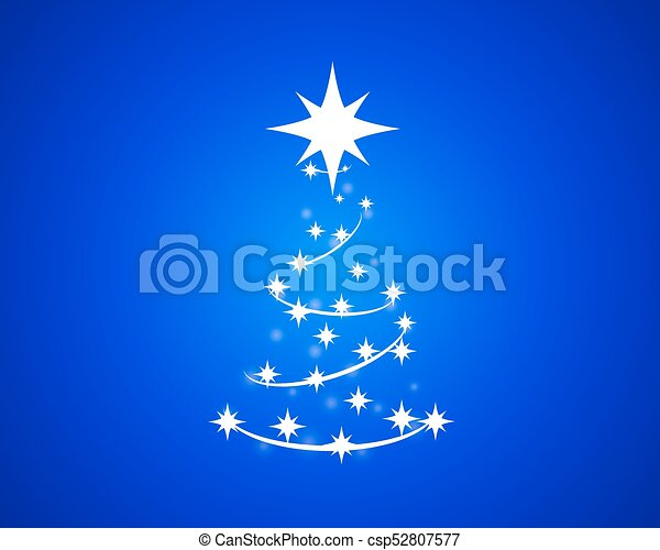 abstract christmas tree on blue background - csp52807577