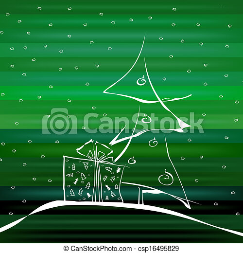 Abstract Christmas Tree on Green Background - csp16495829