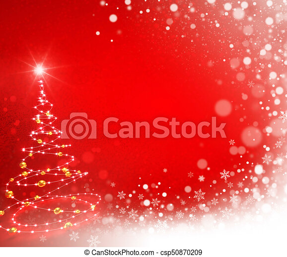 Abstract Christmas tree on red - csp50870209