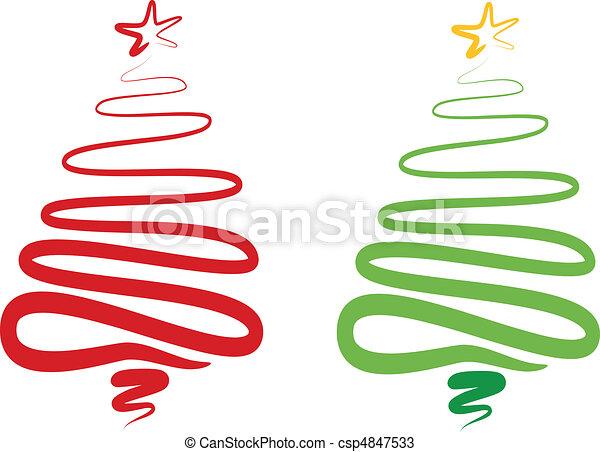 abstract christmas tree, vector - csp4847533