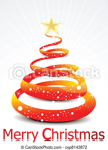 abstract christmas tree with stars  - csp8143872