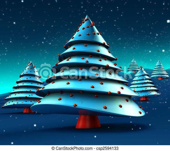 Abstract Christmas Trees Design - csp2594133