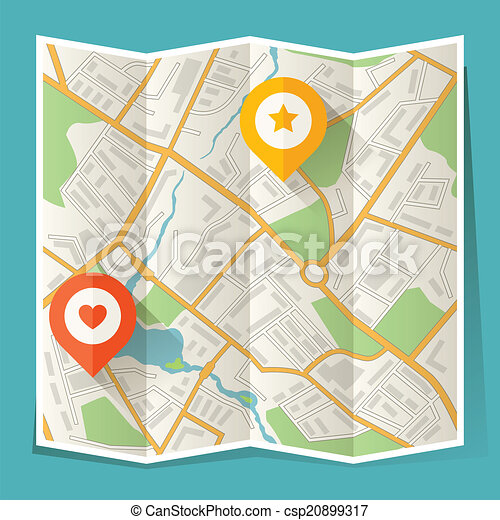 Abstract city folded map with location markers. - csp20899317