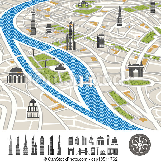 Abstract city map with silhouettes of houses  - csp18511762