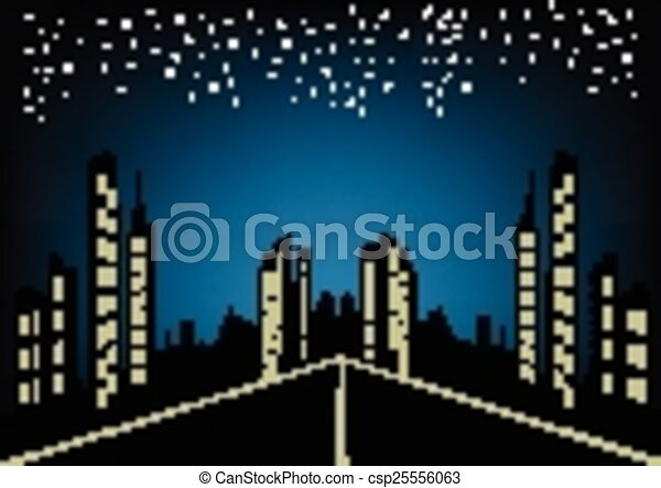 Abstract city night background - csp25556063
