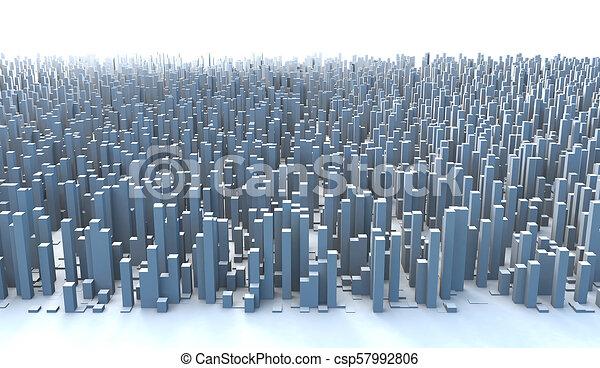 Abstract City Skyline 3D Simple Blocks Buildings