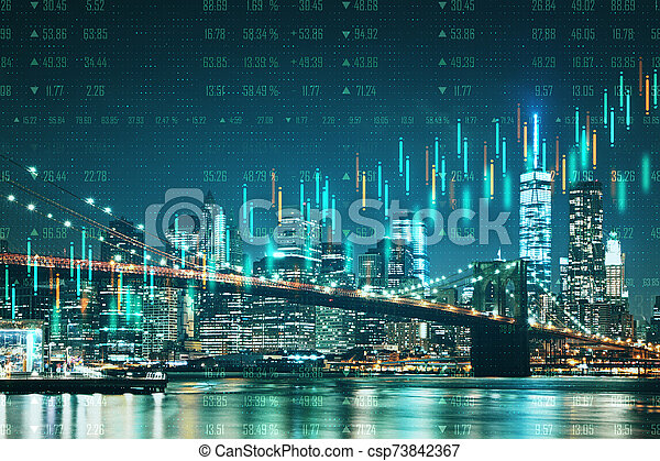 Abstract City With Forex Wallpaper Abstract Night New York City Wallpaper With Forex Chart Trade And Exchange Concept