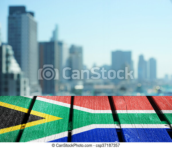 abstract cityscape background with flag - csp37187357