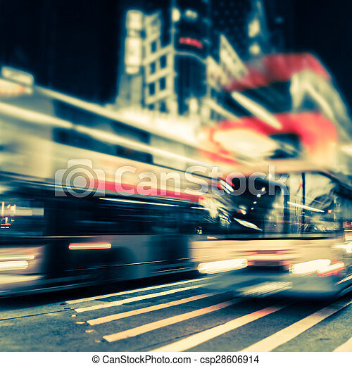 Abstract cityscape blurred background. Hong Kong - csp28606914