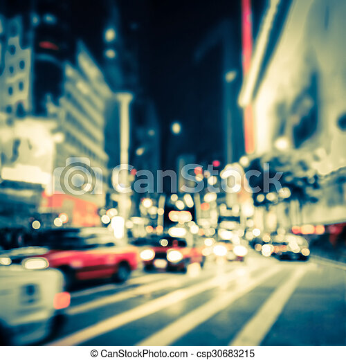 Abstract cityscape blurred background. Hong Kong - csp30683215