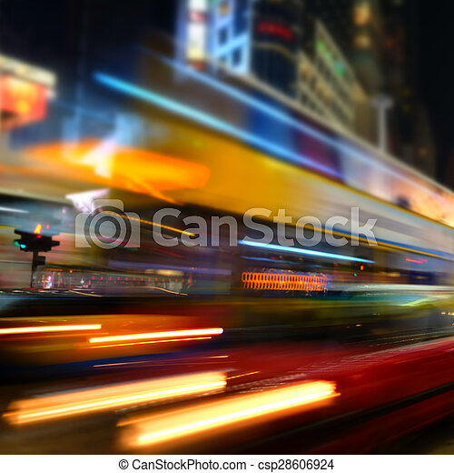 Abstract cityscape blurred background. Hong Kong - csp28606924