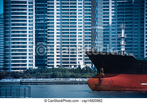 abstract cityscape of cargo ship with modern buildings - csp14920962