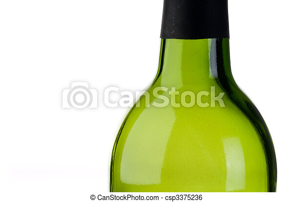 abstract close up of an empty green bottle of wine with copy space - csp3375236