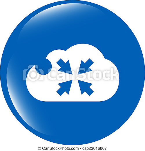 abstract cloud icon. full screen upload button. Load symbol. Round button - csp23016867