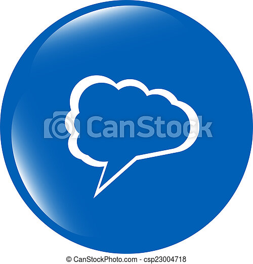 abstract cloud on web icon button isolated on white - csp23004718