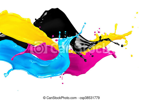 abstract CMYK color splashes - csp38531779