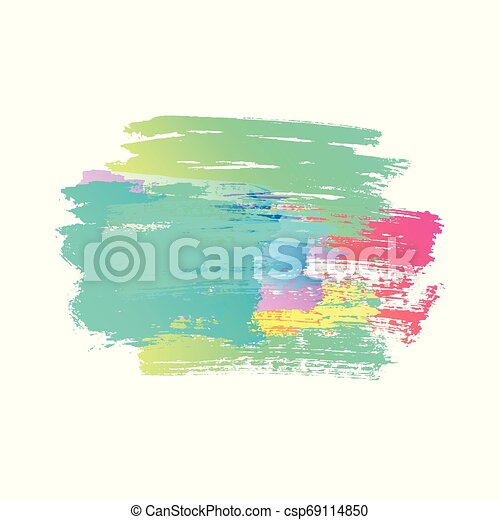 Abstract color brush strokes isolated on white, creative illustration, fashion background. Vector illustration - csp69114850