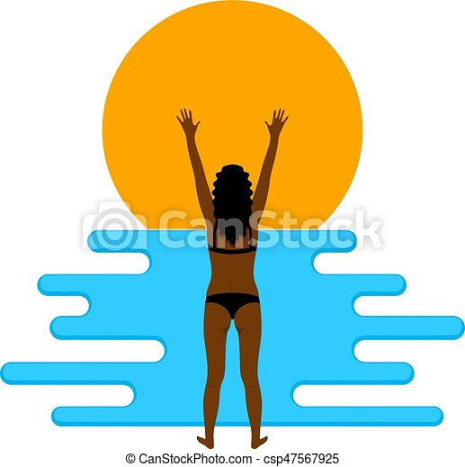 Abstract color image of a young beautiful girl on the beach. Flat simple figure of a girl and waves. Vector illustration - csp47567925