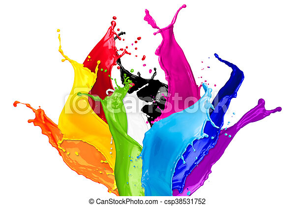 abstract color splashes - csp38531752