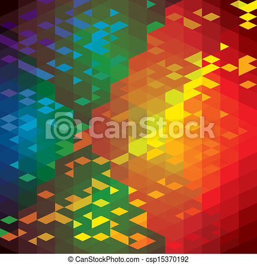 abstract colorful background of geometric shapes- vector graphic. This illustration has repetitive diamonds, rhombus & triangles shaped pattern made of orange, red, brown, blue, green colors - csp15370192