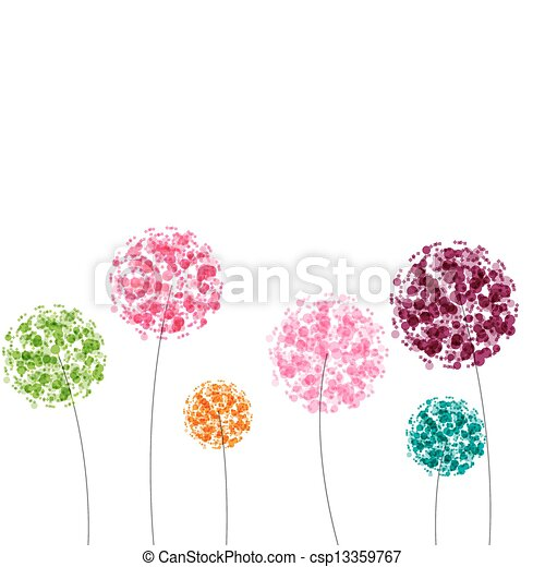 Abstract colorful background with flowers. Vector illustration - csp13359767