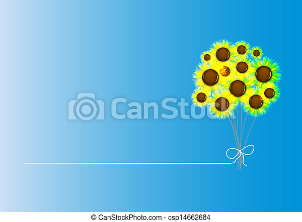 Abstract colorful background with flowers. Vector illustration - csp14662684