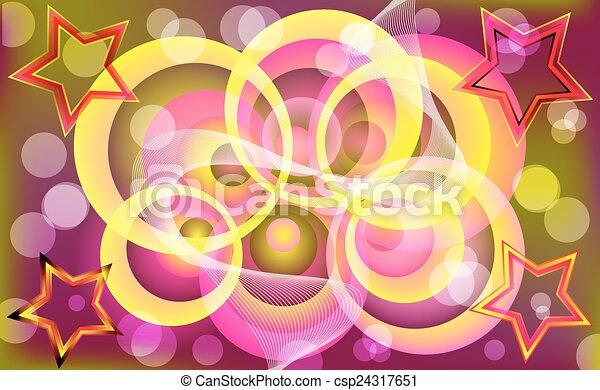 Abstract colorful circle & star design. - csp24317651