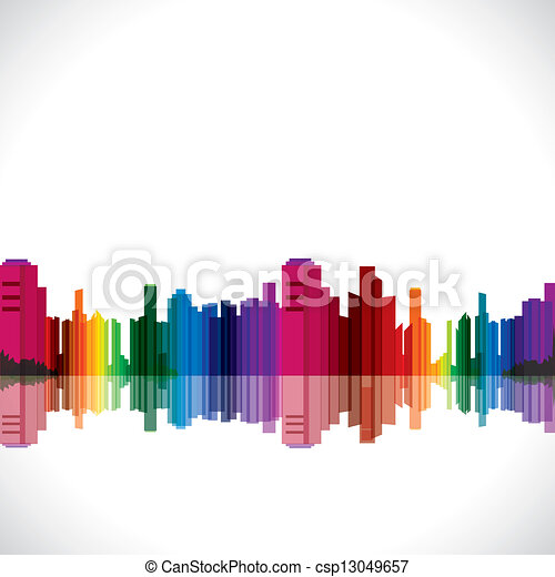 abstract colorful city - csp13049657