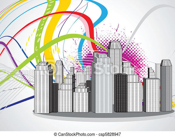 abstract colorful city - csp5828947