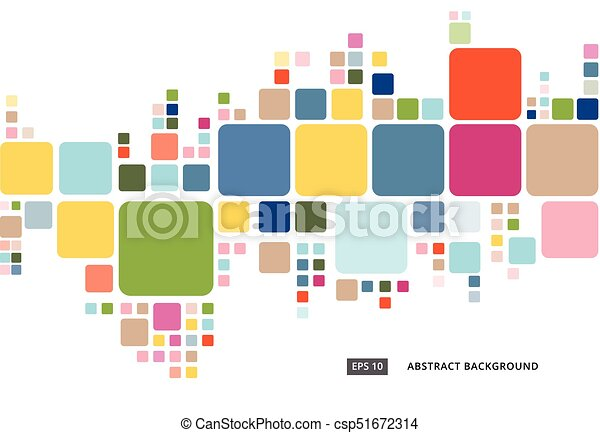 Abstract Colorful Geometric Square Border Pattern On White