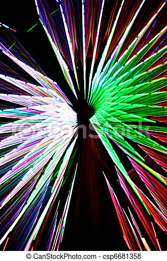 Abstract Colorful Green Spinning Ferris Wheel - csp6681358