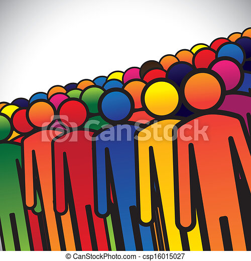 abstract colorful group of people or workers or employees - concept vector. The graphic also represents people icons in various colors forming a group of students, children or kindergarten kids - csp16015027