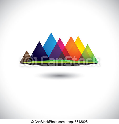 abstract colorful hills & mountain ranges & grassland icon - csp16843825