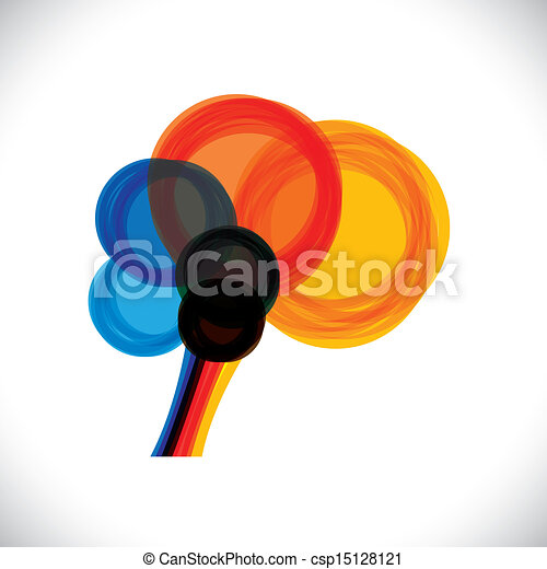 abstract colorful human brain icon or sign- simple vector graphic. This illustration represents a person's mind as colorful rings or circles of thought, intelligence, creativity, learning, etc - csp15128121